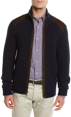 Neiman Marcus Men's Suede-Trim Zip-Front Sweater