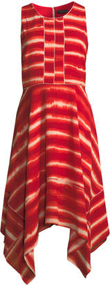 Donna Karan Tie-Dye Striped Trapeze Dress