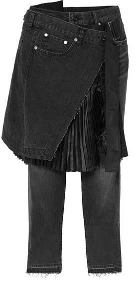 Sacai - Shell-paneled Mid-rise Straight-leg Jeans - Black