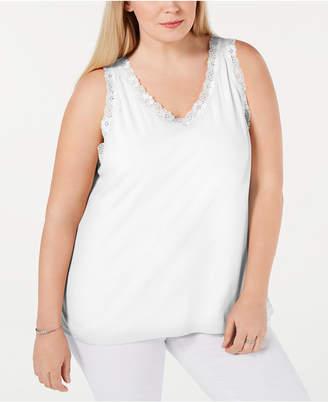 Karen Scott Plus Size Scalloped Lace Tank Top
