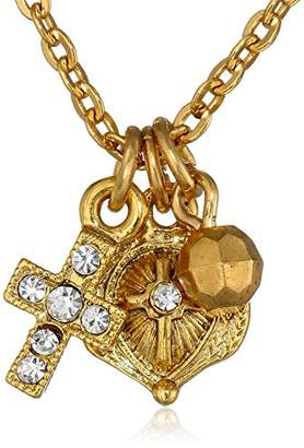 LIBRARY The Vatican Collection 14k Gold-Dipped Crystal Cross Pendant Necklace