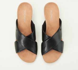 Vionic Leather Cross-Band Demi-Wedges - Kara