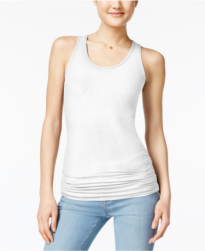 Planet Gold Juniors' Ruched Racerback Tank Top