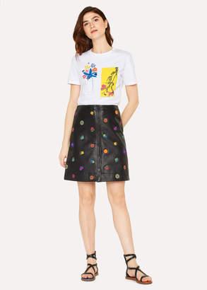 Paul Smith Women's Black Leather Button Down Skirt With 'Kyoto Floral' Embroidery