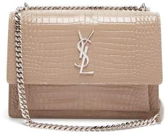 Saint Laurent Sunset Medium Croc Effect Leather Cross Body Bag - Womens - Beige