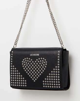 Love Moschino Heart Studded Leather Satchel Bag