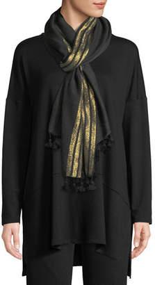 Eileen Fisher Shimmer Wool Pompom-Trim Scarf