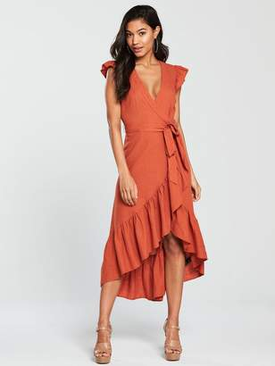 Very Linen Wrap Midi Dress