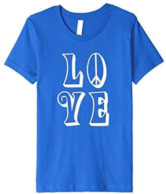 LOVE and Peace w/peace sign in Groovy Hippy font T-Shirt
