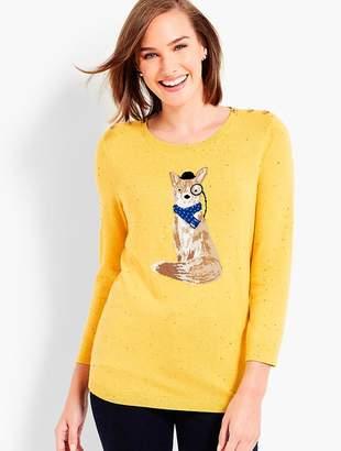 Talbots Foxy Gentleman Tweed Shoulder-Button Sweater