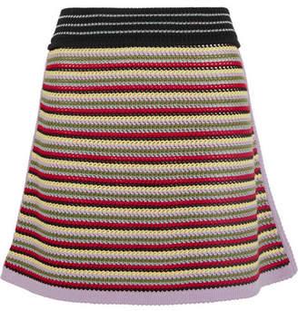 ALEXACHUNG Crochet-knit Cotton-blend Mini Skirt - Red