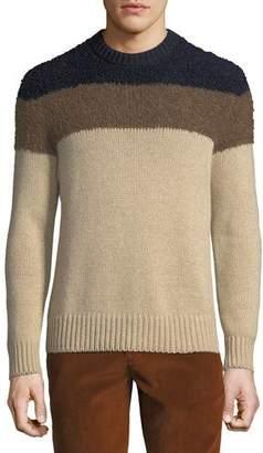 Moncler Men's Striped Alpaca-Trim Sweater