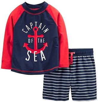 Carter's Simple Joys by Baby Boys' 2-Piece Swimsuit Trunk and Rashguard