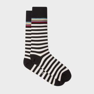Men's Black And White Stripe With Multi-Stripe Trim Socks $30 thestylecure.com