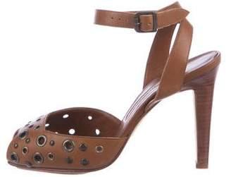 Manolo Blahnik Leather Grommets Pumps