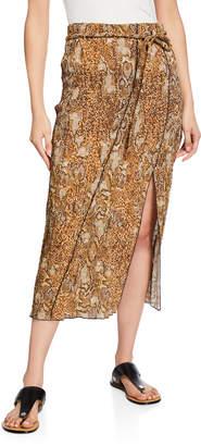 Nanushka Indira Snake-Print Slit Midi Skirt