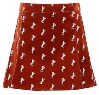 Chloé Velvet embroidered miniskirt