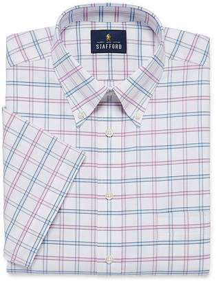 STAFFORD Stafford Travel Wrinkle Free Oxford Checked Dress Big And Tall Short Sleeve Shirt