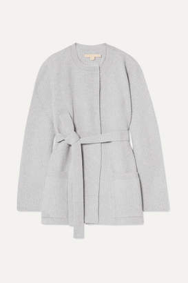 Brock Collection Belted Ribbed Wool And Cashmere-blend Cardigan - Light gray