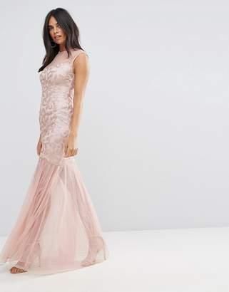 AX Paris Blush Sequin Bodice Chiffon Maxi Dress