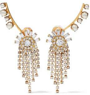 Elizabeth Cole Gold-Tone Faux-Pearl And Crystal Earrings