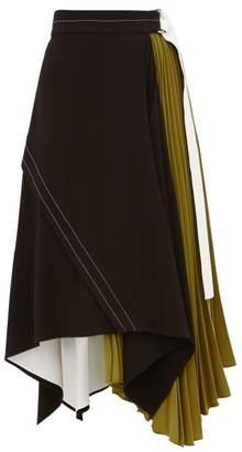 Proenza Schouler Pleated Leather Trim Matte Crepe Skirt - Womens - Black Green