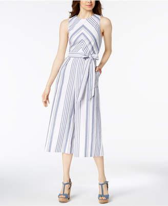 Jessica Howard Striped Cotton Jumpsuit