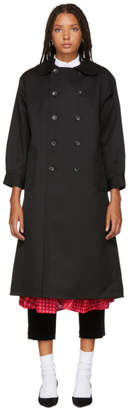 Comme des Garcons Black Double-Breasted Trench Coat
