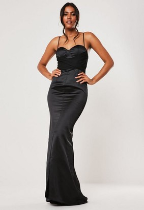 Missguided Bridesmaid Black Chiffon Wrap Fishtail Maxi Dress, Black