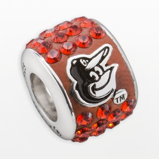 Swarovski Logoart LogoArt Baltimore Orioles Sterling Silver Crystal Logo Bead - Made with Crystals