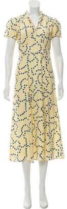HVN Short Sleeve Silk Midi Dress Yellow Short Sleeve Silk Midi Dress