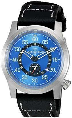 Deep 'Papa Praesto' Automatic Stainless Steel and Black Leather Aviator Watch (Model: ABPPSS)