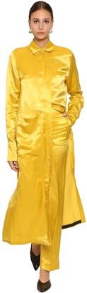 Jil Sander LONG SHINY CUPRO BLEND SHIRT DRESS