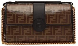 Fendi Double F Leather Baguette Bag - Womens - Black Brown