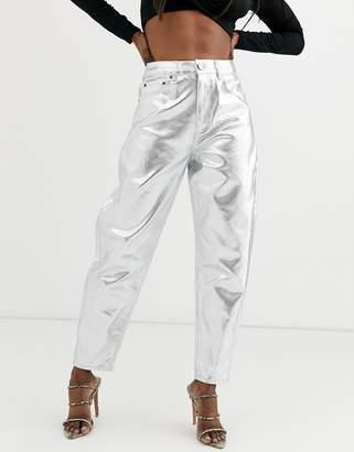 Asos Design DESIGN Balloon leg boyfriend jeans in metallic silver
