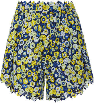 Cecilie Bahnsen Rane High-Waisted Pleated Macrame Shorts