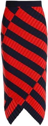 Altuzarra Mallory asymmetric striped ribbed-knit midi skirt