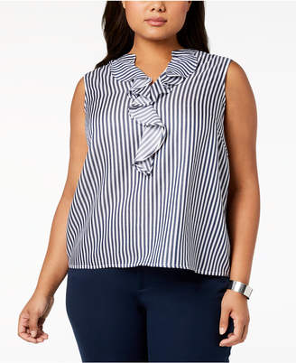 Nine West Plus Size Ruffled Top