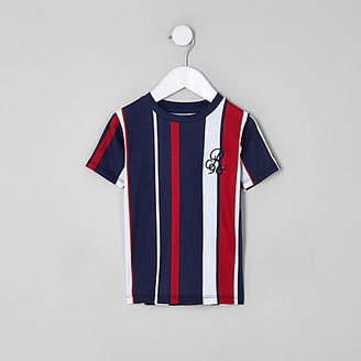 River Island Mini boys navy 'R96' vertical stripe T-shirt