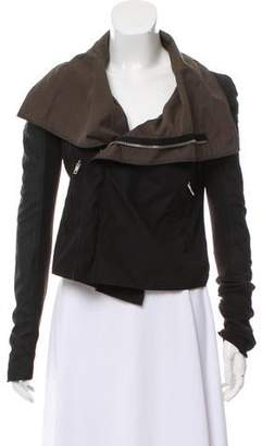Rick Owens Leather-Paneled Fitted Jacket