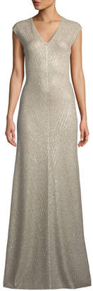 St. John Brielle Sequin V-Neck Cap-Sleeve Knit Gown