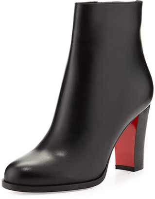 Christian Louboutin Adox Leather 85mm Red Sole Ankle Boot, Black $945 thestylecure.com