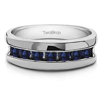 TwoBirch Sapphire Mounted in Sterling Silver Sapphire Sapphire Channel Set Unique Men's Ring(0.98crt)