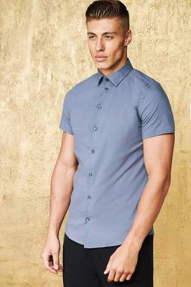 boohoo Short Sleeve Cotton Shirt In Muscle Fit