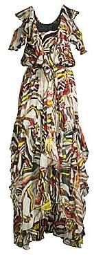 Faith Connexion Women's Asymmetrical Floral High-Low Silk Maxi Dress
