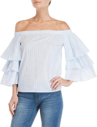 Romeo & Juliet Couture Romeo + Juliet Couture Striped Off-the-Shoulder Ruffle Sleeve Top