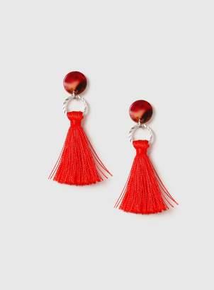Dorothy Perkins Womens Red Resin Mini Tassel Earrings