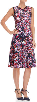 Carolina Herrera Floral Flared Knit Dress
