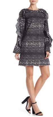 Nicole Miller Lera Ruffle Sleeve Dot Woven Dress