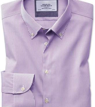 Charles Tyrwhitt Extra slim fit button-down business casual non-iron violet stripe shirt